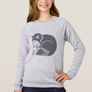 Cozy Sleepy Grey Husky Girls' Raglan Sweatshirt