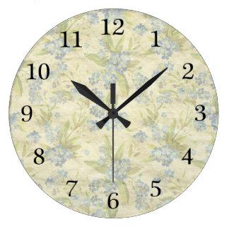 Cozy vintage floral textile Forget Me Not Large Clock