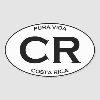 CR - Costa Rica Oval Sticker