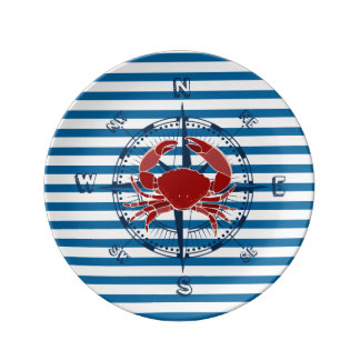 Crab and Compass Blue and White Horizontal Stripe Porcelain Plate