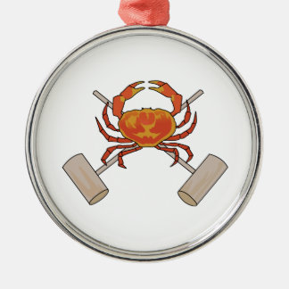 Crab And Mallets Silver-Colored Round Ornament