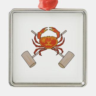 Crab And Mallets Silver-Colored Square Ornament