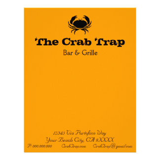 Crab and Seafood Restaurants stationery template Letterhead Template