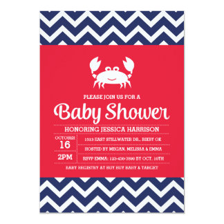 Crab Baby Shower Invitation, Nautical Invitation