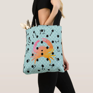 CRAB-BEACH-NO-TIME-SHOULDER-BAGS TOTE BAG