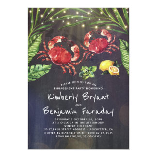 Crab Beach Palm String Lights Engagement Party Card