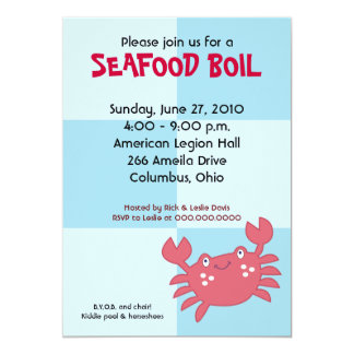 """CRAB BOIL Seafood Party 5x7 Birthday Baby Shower 5"""" X 7"""" Invitation Card"""