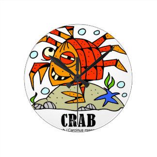 Crab by Lorenzo © 2018 Lorenzo Traverso Round Clock