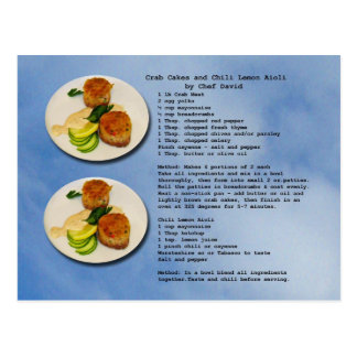 Crab Cakes Recipe Postcard