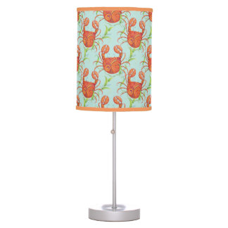 Crab, coral and turquoise table lamp