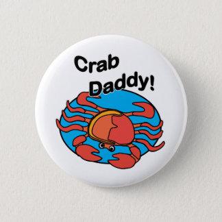 Crab Daddy with Orange Crab 2 Inch Round Button