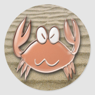 crab dance round sticker