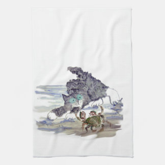 Crab Dancing - Kitten and Crab Tango Kitchen Towel