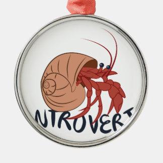 Crab Introvert Silver-Colored Round Ornament
