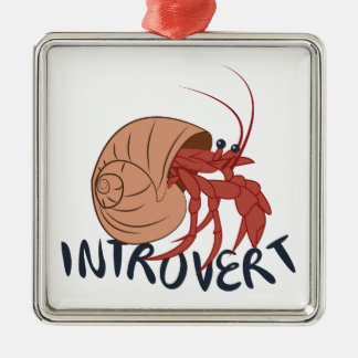 Crab Introvert Silver-Colored Square Ornament
