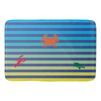 Crab, Lobster and Turtle on Beach Stripes Bath Mat