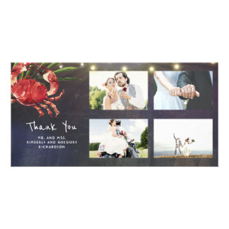 Crab Nautical Beach Wedding Thank You Wedding Card