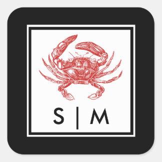 Crab Nautical Classic Frame Favor Square Sticker