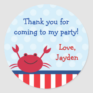 Crab Nautical Favor Stickers