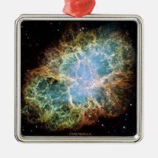 Crab Nebula Silver-Colored Square Ornament