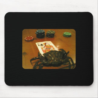 Crab playing poker mouse pad