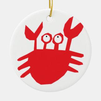 Crab, red, cartoon, cute round ceramic ornament