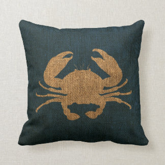 Crab Rustic Deep Sea Blue Throw Pillow