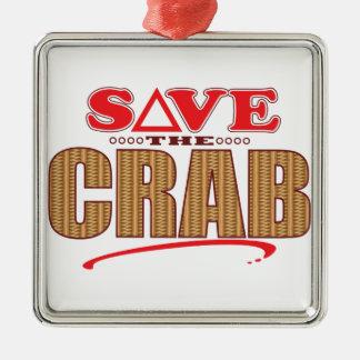 Crab Save Silver-Colored Square Ornament