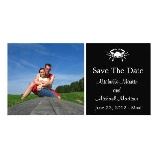 Crab Save The Date Photocard (Black) Photo Greeting Card