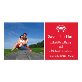 Crab Save The Date Photocard (Dark Red) Customized Photo Card