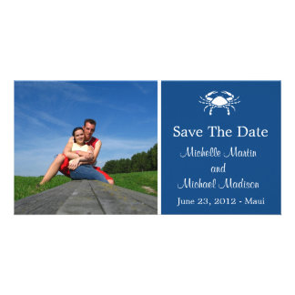 Crab Save The Date Photocard (Navy Blue) Personalized Photo Card