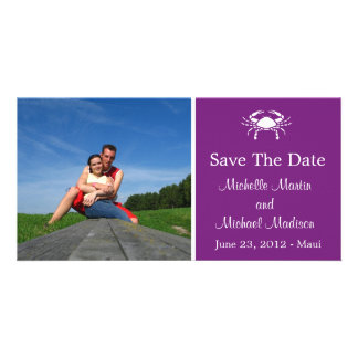 Crab Save The Date Photocard (Plum Purple) Photo Card Template