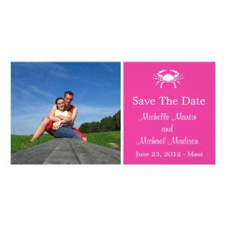 Crab Save The Date Photocard (Raspberry) Photo Card
