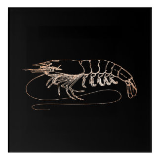 Crab Sea Ocean Black Rose Gold Blush Metallic Acrylic Wall Art