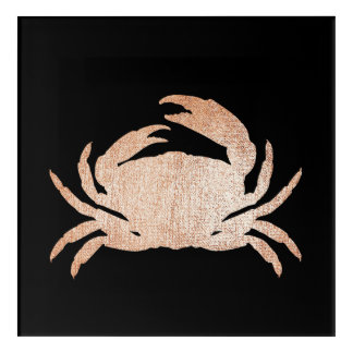 Crab Sea Ocean Black Rose Gold Pink Metallic Acrylic Print