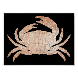 Crab Sea Ocean Black Rose Gold Pink Metallic Poster