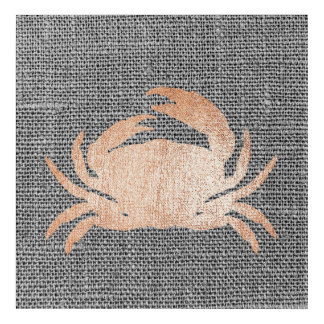 Crab Sea Ocean Linen Gray Rose Gold Pink Metallic Acrylic Wall Art