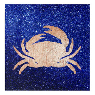 Crab Sea Ocean Navy Rose Gold Pink Metallic Acrylic Wall Art