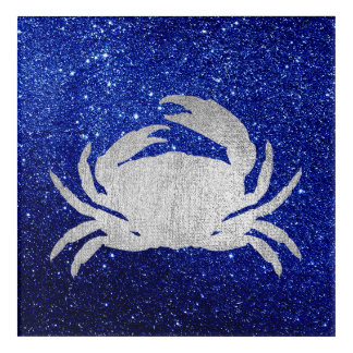 Crab Sea Ocean Navy Rose Silver Gray Metallic Acrylic Wall Art