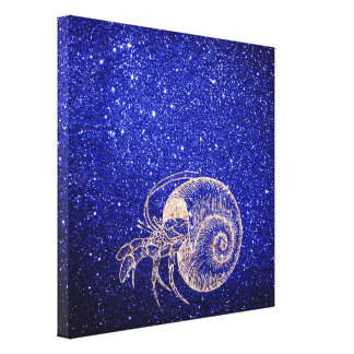 Crab Sea Snail Ocean Rose Gold Cobalt Blue Glitter Canvas Print