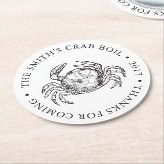 Crab | Seafood Boil / Bake Customized Round Paper Coaster