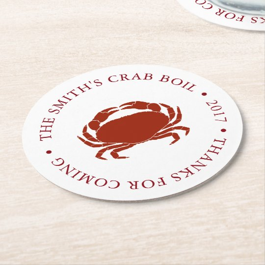 Crab | Seafood Boil Customized Round Paper Coaster