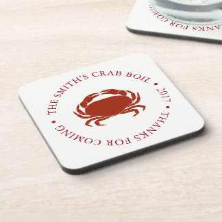 Crab | Seafood Boil Customized White Coaster