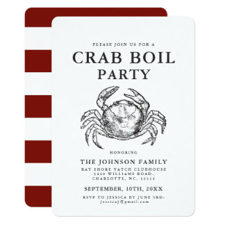 Crab | Seafood Boil Vintage Style Crab Invitations