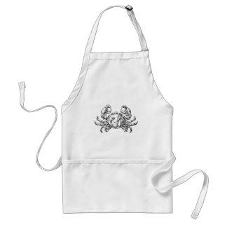 Crab Seafood Food Grunge Style Hand Drawn Icon Standard Apron