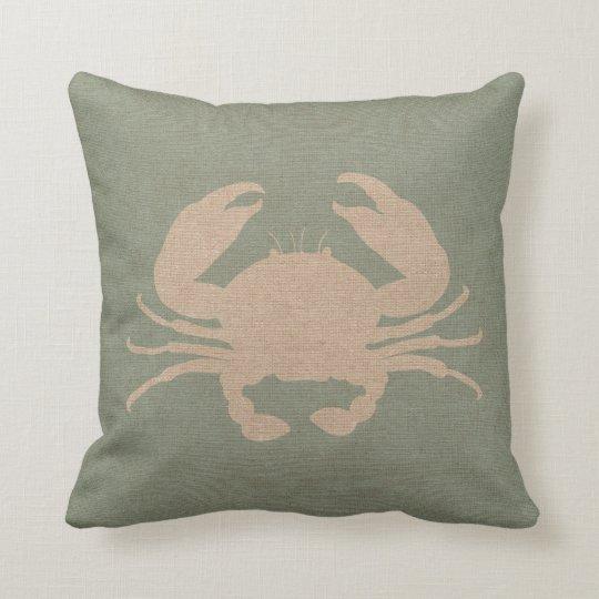 Crab Shell Seafoam Green Throw Pillow