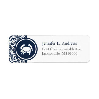 Crab Theme Navy Blue White Damask Beach Weddings