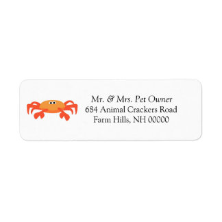 Crab Theme Return Address Labels Stickers