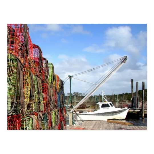 Crab Traps Stacked and Ready Postcard