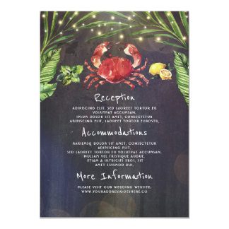 Crab Tropical Wedding Information Guest Card